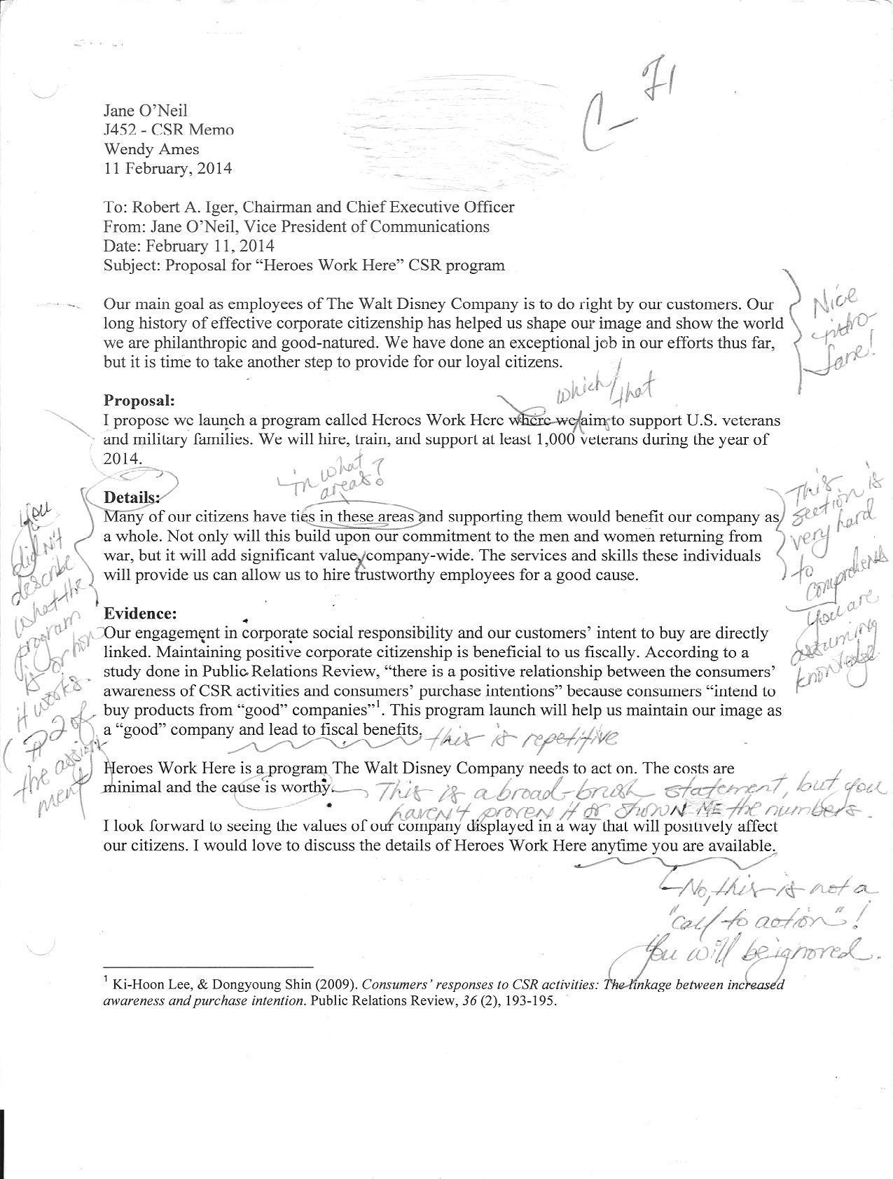 business proposal memo sample
